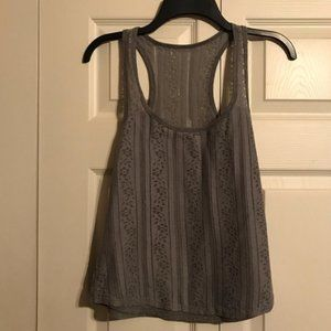 HOLLISTER Small Gray Tank Top Lace Overlay